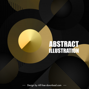 technology background shiny golden circles modern dark design