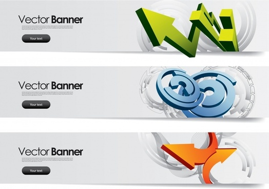 banners templates bright modern 3d arrow circles decor