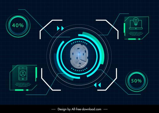 technology design elements modern flat light sketch