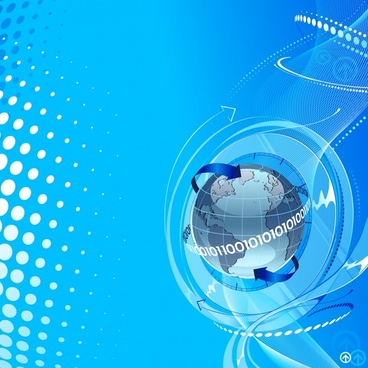 technology backdrop globe arrow icons 3d blue decor