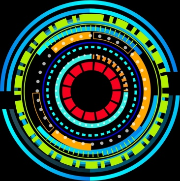 technology icon design colorful round decoration