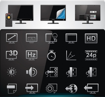 technology screen sign icons shiny modern design