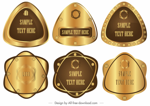 technology label templates shiny golden metallic shapes