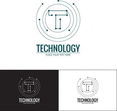 technology logo sets spots connection style lettering design
