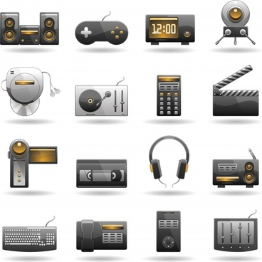 technology products subwoofer mouse rod spreadsheet icon vector