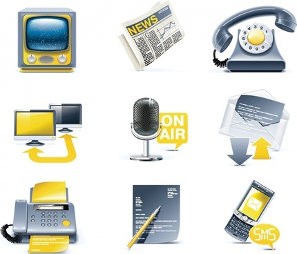 media icons colored 3d design