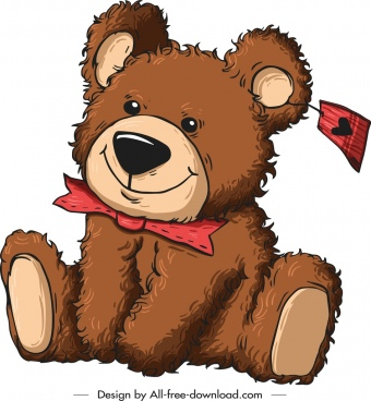 teddy bear gift icon cute cartoon sketch