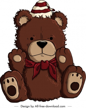 teddy bear icon cute handdrawn brown design