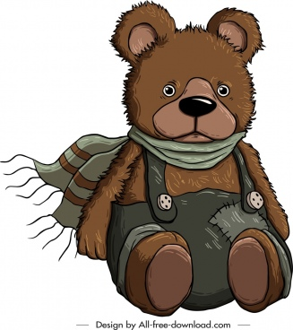 teddy bear icon winter clothes decor cartoon sketch