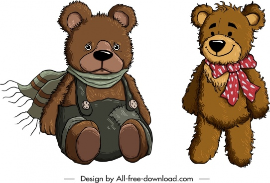 teddy bear icons winter costume decor cute cartoon