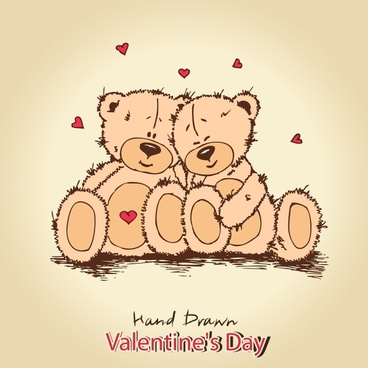teddy bear love background vector line art