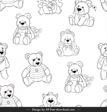 teddy bear pattern black white repeating handdrawn sketch