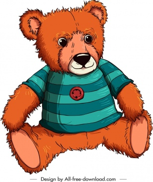 teddy bear template stylized cartoon sketch