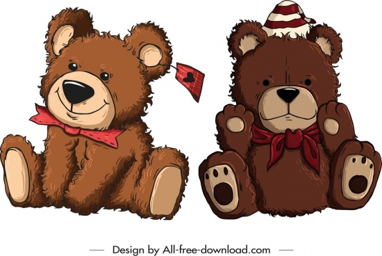 teddy bear toys icons cute brown fluffy sketch