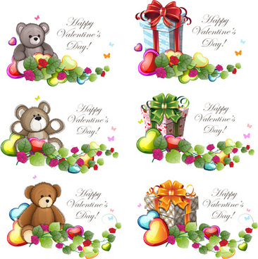 teddy bear valentines cards vectors