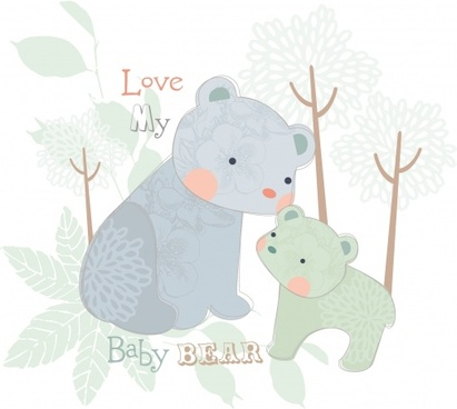 card background cute bears sketch flat classical design
