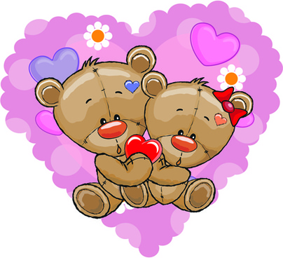teddy bear with red heart vector cards