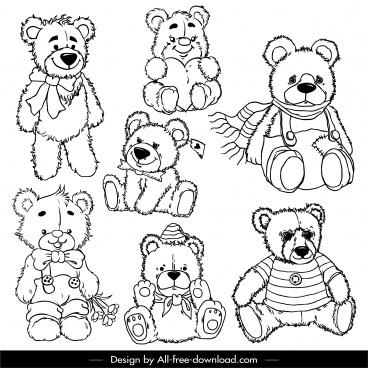 teddy bears icons black white handdrawn sketch