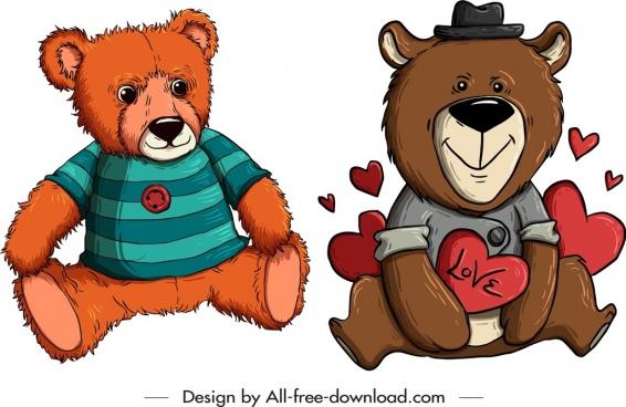 teddy bears templates cute stylized cartoon sketch