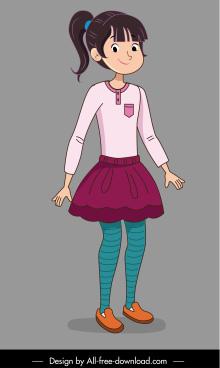 teenager icon cute girl sketch cartoon character