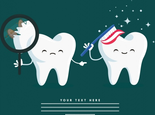 teeth care banner cute stylized icons
