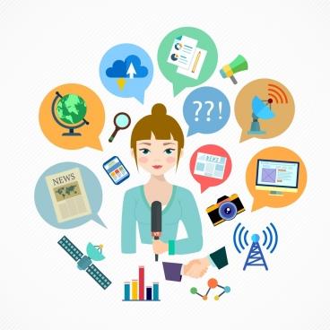 television news design elements reporter various symbols layout