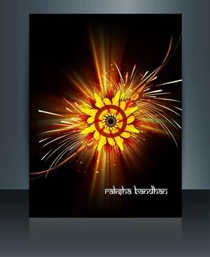 template beautiful raksha bandhan brochure reflection vector