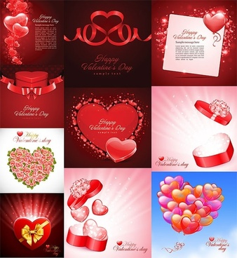 ten beautiful heartshaped theme vector