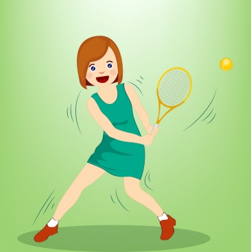 tennis background female player icon colored cartoon design