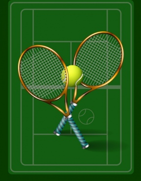 tennis background green court racket ball icons decor