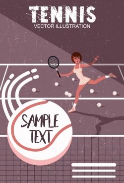 tennis banner female player icon colored retro design