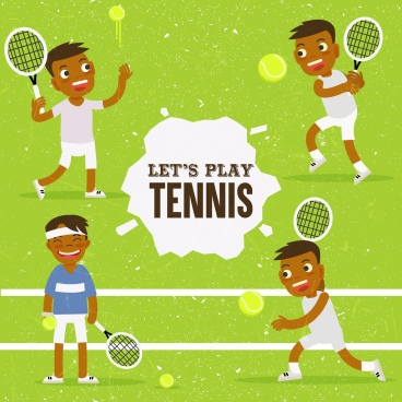 tennis banner funny player icons colored cartoon design