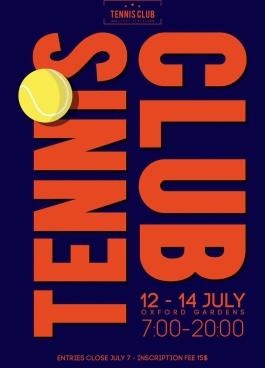 tennis club banner ball vertical texts decoration