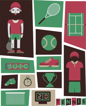 tennis design elements green red decor various symbols
