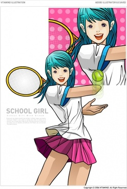 tennis female students vector