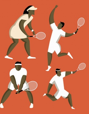 tennis players icons various gestures cartoon characters