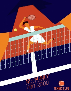 tennis poster player net court icons colored cartoon