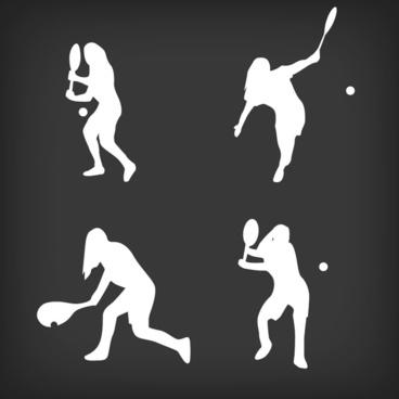 tennis silhouettes vector design