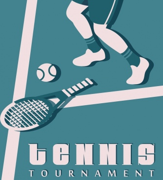 tennis tournament banner racket ball players classical decor
