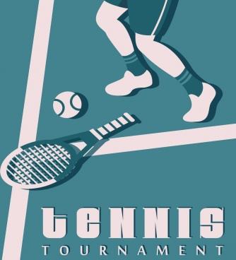 tennis tournament banner racket ball players classical decor