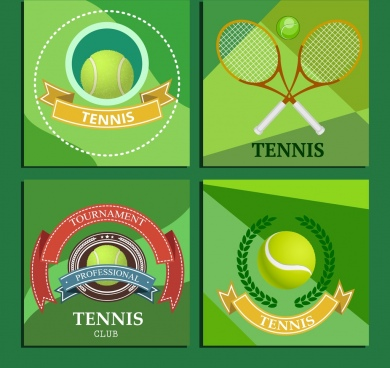tennis tournament logotype racquet ball ribbon icons