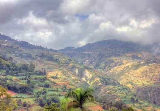 terraced mountain landscape near haiti baptist mission