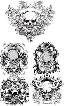terror black and white skull labels vector