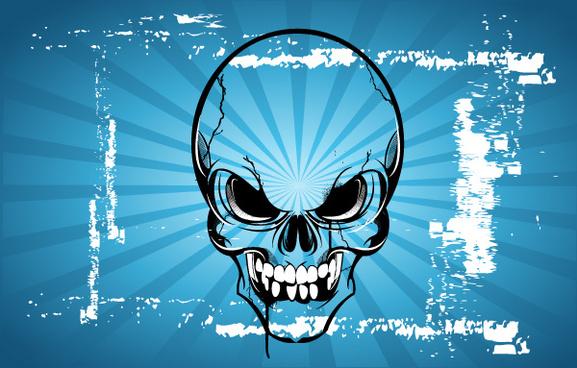 terror skull cartoon vector