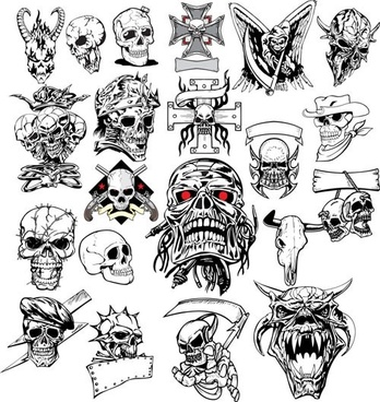terror skull head 01 vector