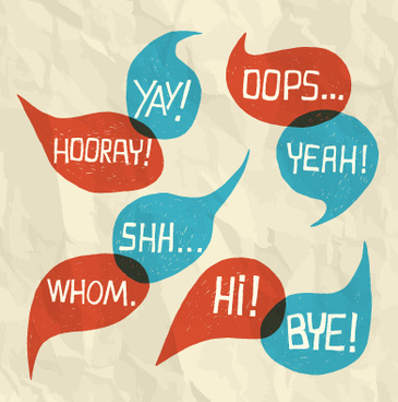 text short words and speech bubbles design vector
