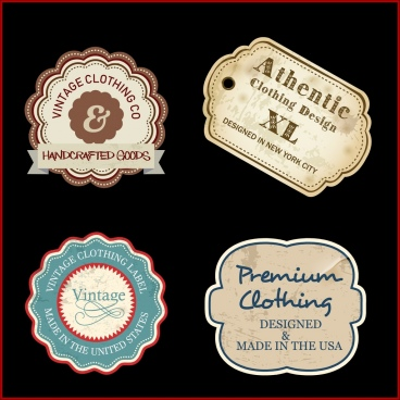 textile labels collection flat retro shapes