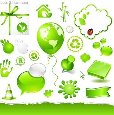 ecology design elements green icons design