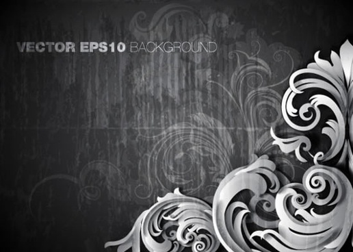 decorative background template dark elegant retro floral decor