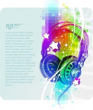 textures vector colorful headphones